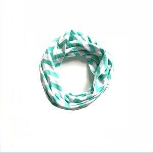 Other - Girls infinity scarf aqua & White Chevron
